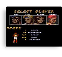 Streets of Rage 2 – Select Skate Canvas Print