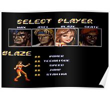 Streets of Rage 2 – Select Blaze Poster