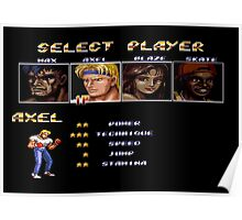 Streets of Rage 2 – Select Axel Poster