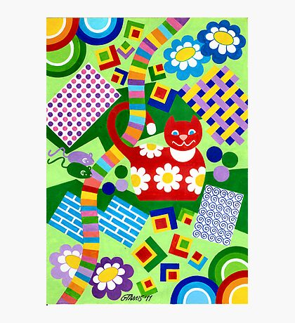 Color With Squares And A Red Cat - Brush And Gouache Photographic Print