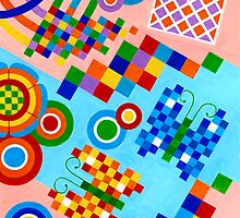 Colors With Squares And Butterfly's - Brush And Gouache by RainbowArt