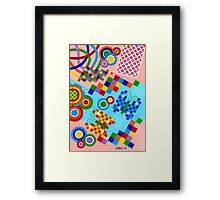 Colors With Squares And Butterfly's - Brush And Gouache Framed Print