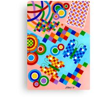 Colors With Squares And Butterfly's - Brush And Gouache Canvas Print