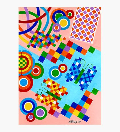 Colors With Squares And Butterfly's - Brush And Gouache Photographic Print