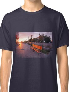 European urban sidewalk, benches and lanterns in the evening Classic T-Shirt