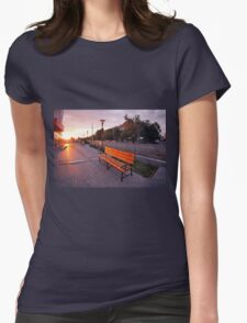 European urban sidewalk, benches and lanterns in the evening Womens Fitted T-Shirt