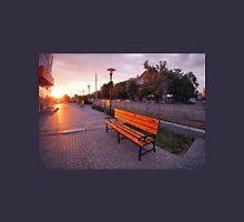 European urban sidewalk, benches and lanterns in the evening Unisex T-Shirt