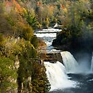 Three Watefalls at Ausable Chasm Autumn by ValeriesGallery