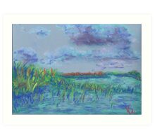 Clouds and Water, Grass and Sky (pastel) Art Print