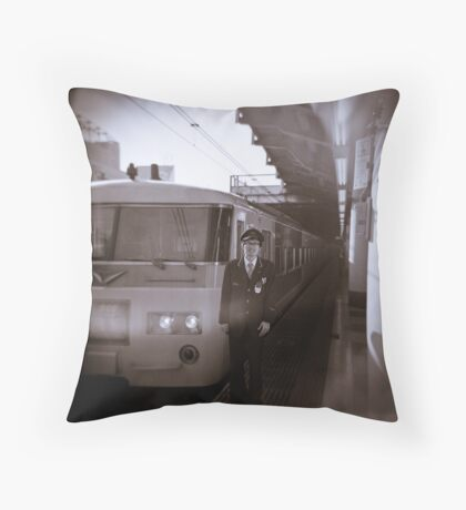 My train driver friend AT Ueno station Throw Pillow