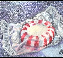 Eye Candy - ACEO Original Color Pencill Painting Drawing by Magaly Burton Size 2.5 x 3.5 by Magaly Burton