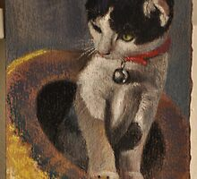 "Original Pastel Painting ""Cat in the Hat"" by MBurton by Magaly Burton"