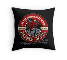 Dapper Devil Moustache Wax Throw Pillow