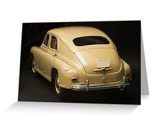 Rear view of retro car on a black background Greeting Card