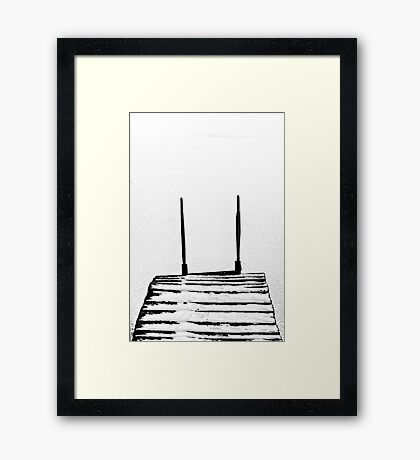 footbridge in frozen lake #5 Framed Print