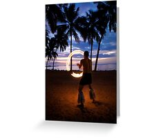 Sunset Fire Show Greeting Card