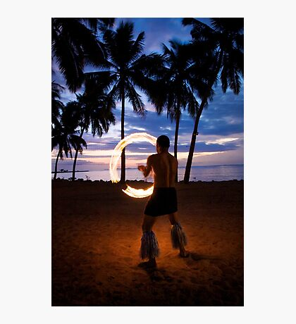 Sunset Fire Show Photographic Print