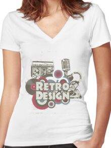 The retro design Women's Fitted V-Neck T-Shirt
