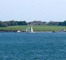 Schooner passes Hammersmith Farm. Newport, Rhode Island by Jack McCabe