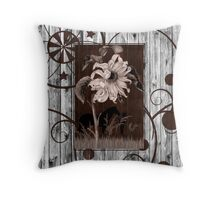 Whitewashed Western Sunflower & Cowgirl Throw Pillow