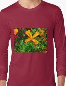 Large yellow and orange flowers close up Long Sleeve T-Shirt
