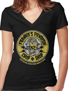 Frankie's Fiendish Chop Shop Women's Fitted V-Neck T-Shirt