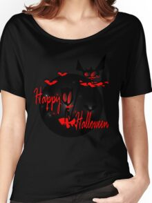 happy halloween horror fantasy vector art Women's Relaxed Fit T-Shirt
