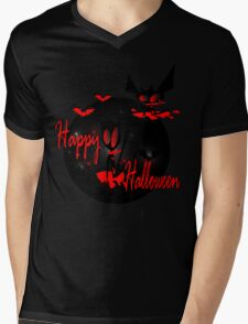 happy halloween horror fantasy vector art Mens V-Neck T-Shirt