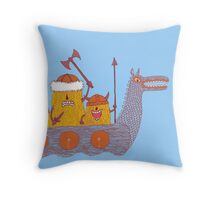 Viking Party Animals in a  Dragon Boat Throw Pillow