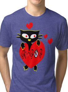 Black kitty love KPOP vector  art Tri-blend T-Shirt