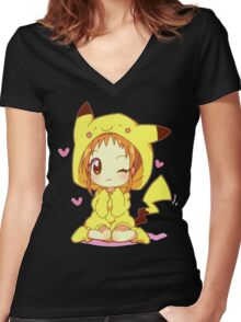 Anime Chibi - Pikachu Women's Fitted V-Neck T-Shirt