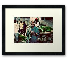 Lady at the markets Framed Print