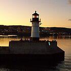1909 Sunset Lighthouse ~ DULUTH by Diane Trummer Sullivan