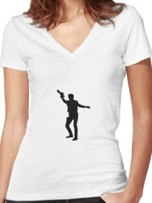 Han Solo of Star Wars Women's Fitted V-Neck T-Shirt