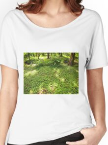 The green lawn in a park in the shade of trees Women's Relaxed Fit T-Shirt