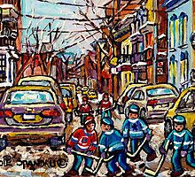 HOCKEY TOWN MONTREAL HOCKEY PAINTINGS ORIGINAL PAINTING FOR SALE by Carole  Spandau