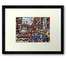 HOCKEY TOWN MONTREAL HOCKEY PAINTINGS ORIGINAL PAINTING FOR SALE Framed Print