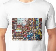 HOCKEY TOWN MONTREAL HOCKEY PAINTINGS ORIGINAL PAINTING FOR SALE Unisex T-Shirt