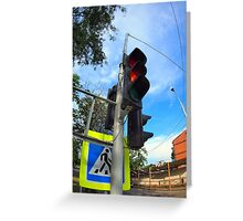 Bottom view on traffic light and road sign closeup  Greeting Card