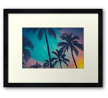 Hawaii Palm Trees At Sunset Framed Print