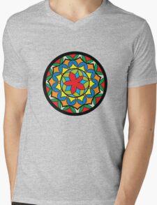 Flower Mandela Mens V-Neck T-Shirt