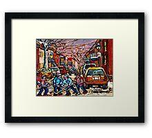 MONTREAL HOCKEY PAINTINGS  BOYS PLAYING STREET HOCKEY Framed Print