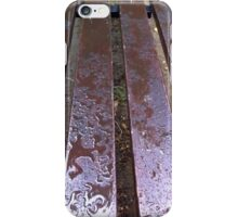 Wet wooden bench with drops iPhone Case/Skin