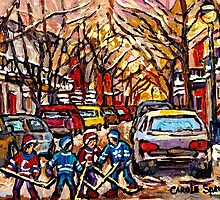 MONTREAL HOCKEY PAINTINGS ON THE WAY TO HOCKEY PRACTICE ORIGINAL PAINTING FOR SALE by Carole  Spandau