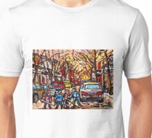 MONTREAL HOCKEY PAINTINGS ON THE WAY TO HOCKEY PRACTICE ORIGINAL PAINTING FOR SALE Unisex T-Shirt