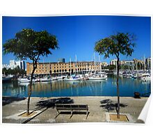 Barcelona Docks Sea Scape Poster