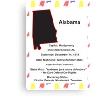 Alabama State Information Poster Canvas Print