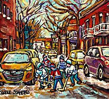 HOCKEY TOWN MONTREAL STREET HOCKEY PAINTING FOR SALE  by Carole  Spandau
