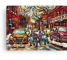 HOCKEY TOWN MONTREAL STREET HOCKEY PAINTING FOR SALE  Canvas Print