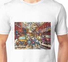 HOCKEY TOWN MONTREAL STREET HOCKEY PAINTING FOR SALE  Unisex T-Shirt